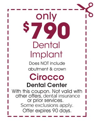 cirocco dental implant coupon $750 dollars off dental implants