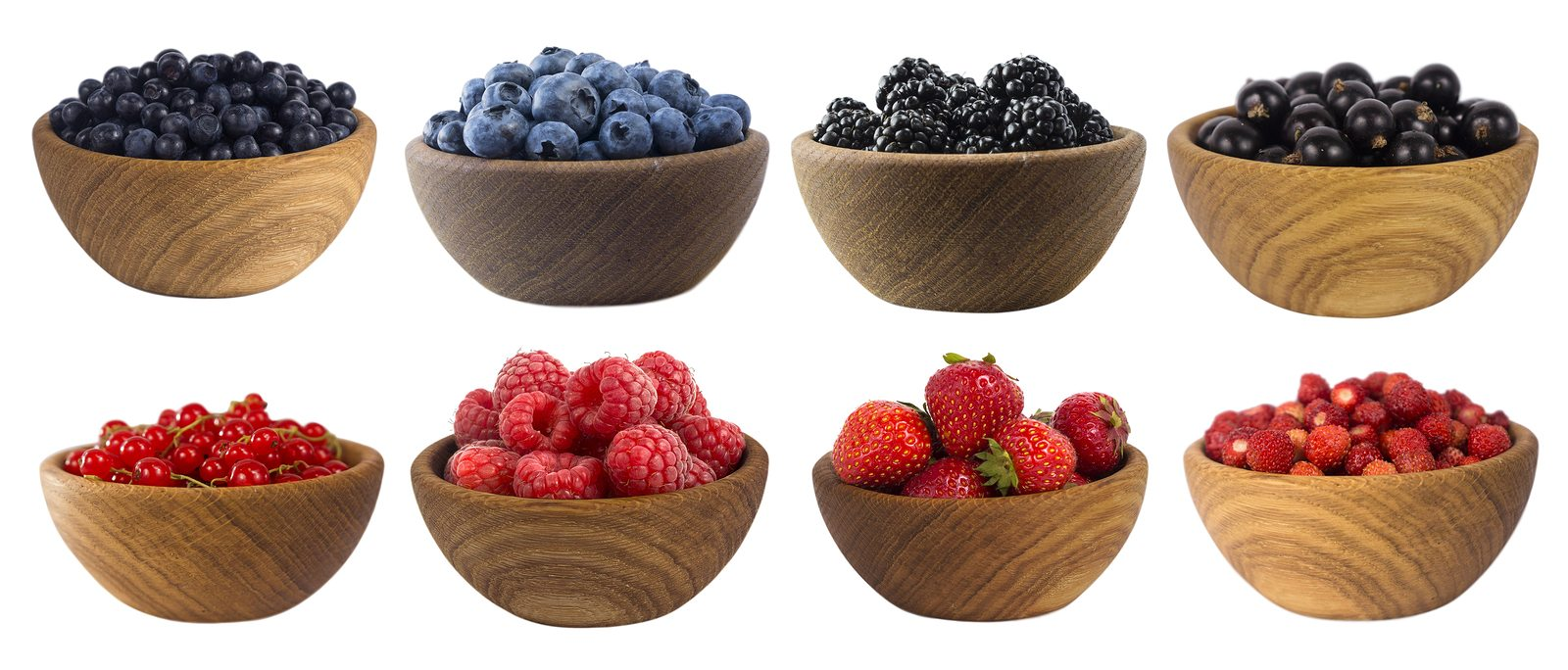 Blue-black and red berries isolated on white. Mulberry, blueberry, black berry, currant, strawberry and raspberry. Collage of different fruits and berries. Berry on a white background. Sweet and juicy berry with copy space for text.
