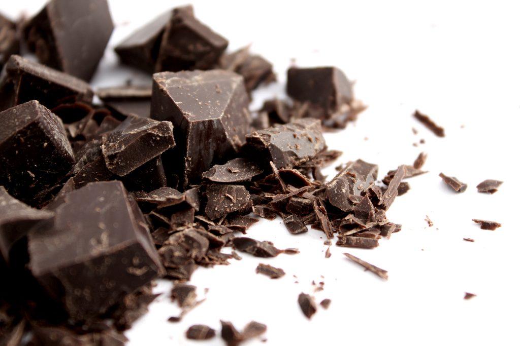 chopped dark choclate heart and teeth healthy candy option
